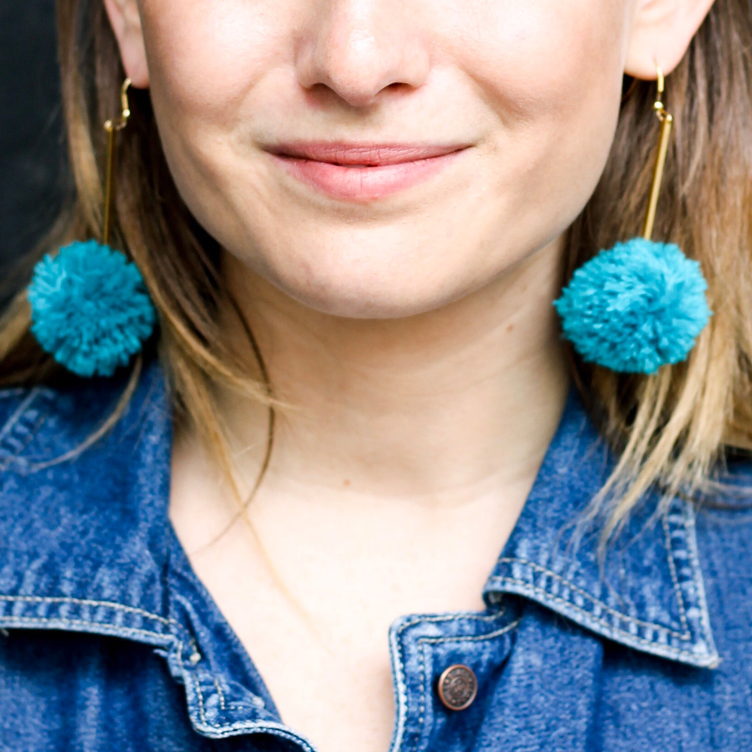 vK. Pom Drop Earrings  - Teal