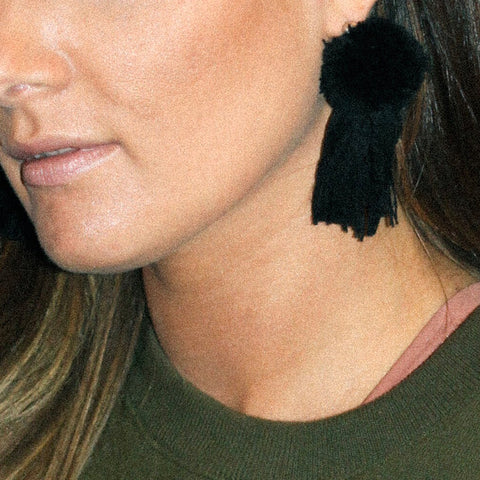 vK. Pom Pom Tassel Earrings - Black