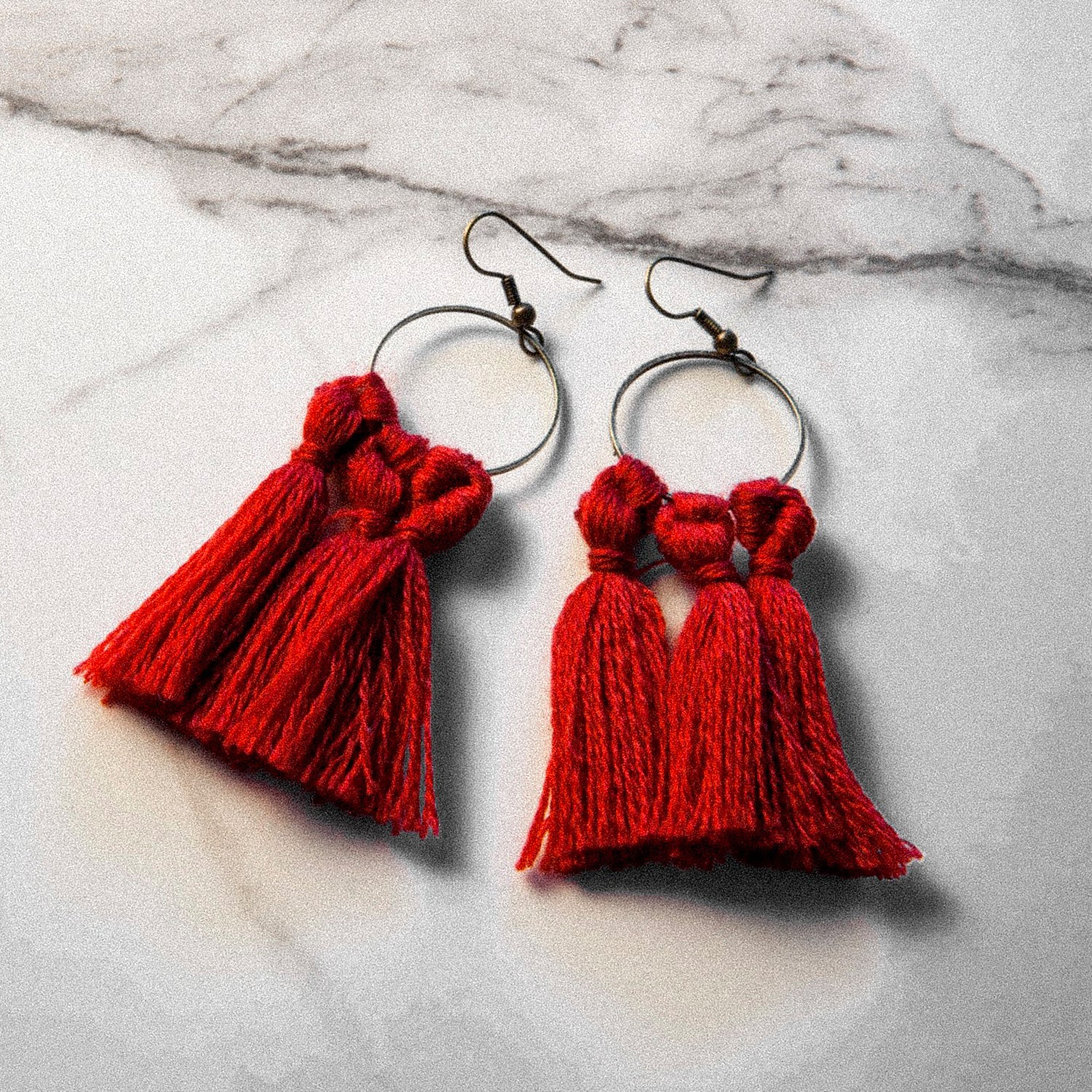 vK. Tassel Earrings - RED