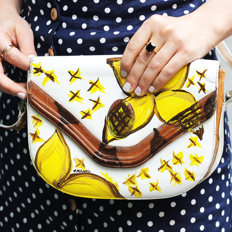 vK. Vintage Hand Painted Yellow Purse
