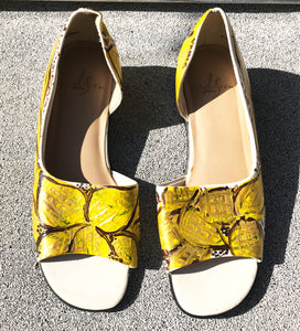 vK. Vintage Hand Painted Yellow Shoes