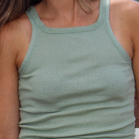 Green Cotton Tank - Ribbed