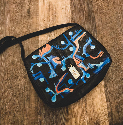 vK. Vintage Hand Painted Purse - Black