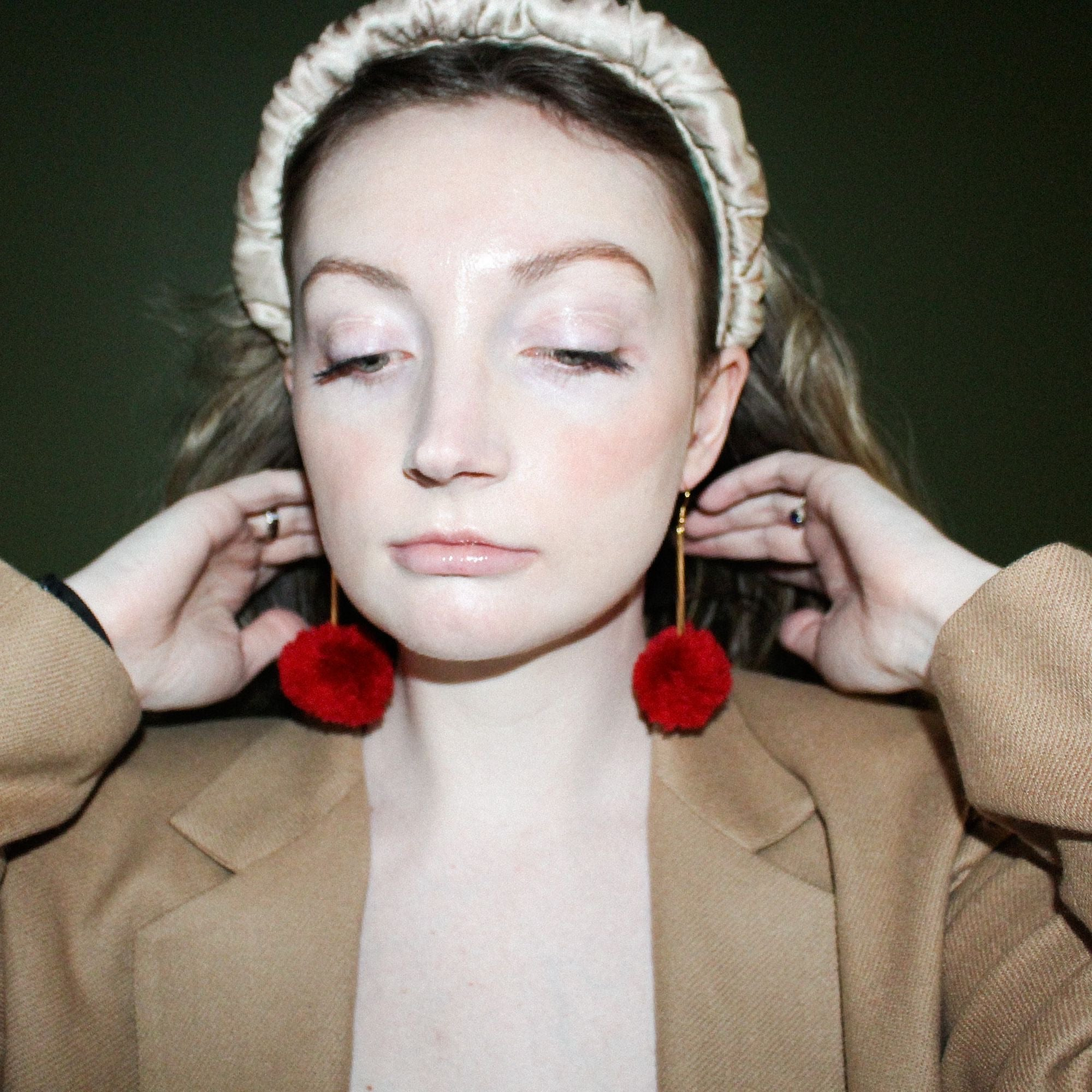 vK. Pom Drop Earrings  - Red