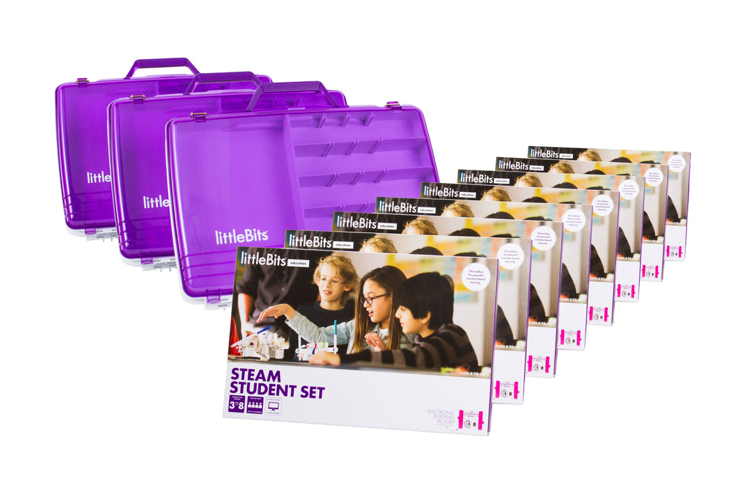 littleBits - STEAM 24  Student Set (Classroom Pack 8 Sets & 3 Tackle Boxes)