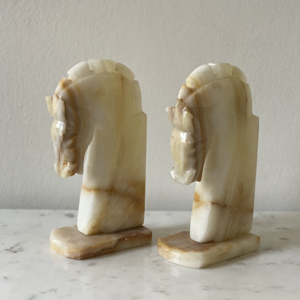 Vintage Pair of Onyx Horse Head Book Ends