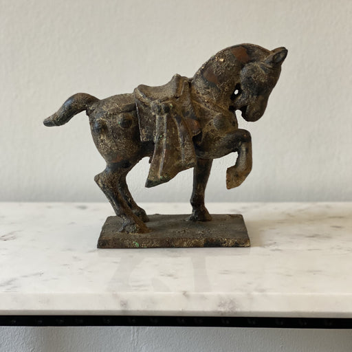 Vintage Chinese Horse Figure Cast Iron Sculpture