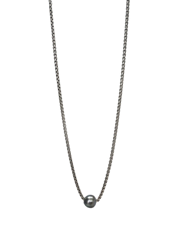 South Sea Necklace | Tahitian Pearl with Silver Chain by Otaner King Jewelry