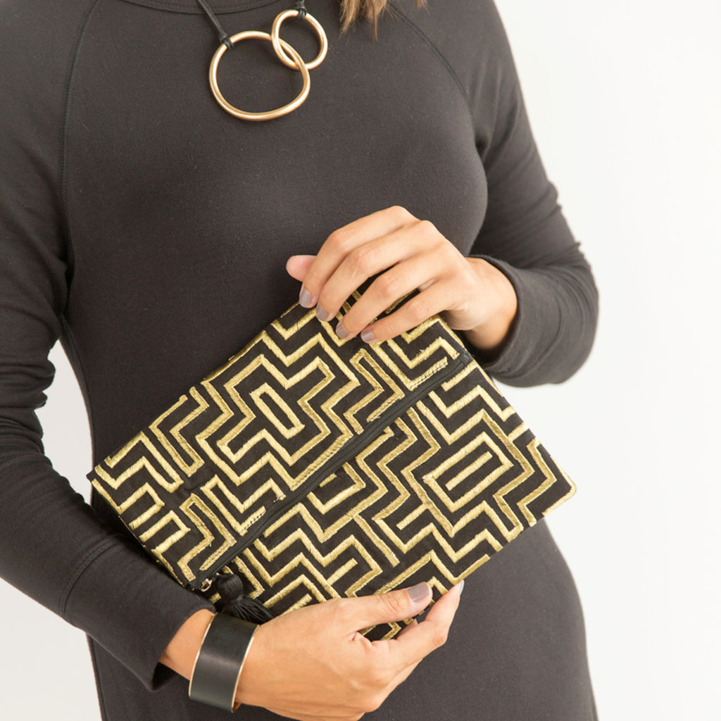 Gold and Black Mola Clutch