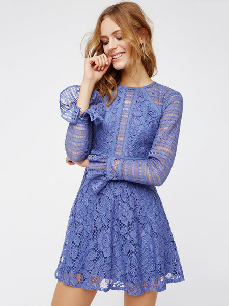 Free People blue lace bell sleeve dress US8