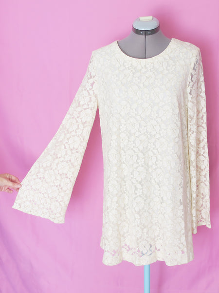 H&M metallic gold and cream lace bell sleeve dress US10