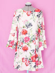 Dorothy Perkins white floral bell sleeve dress US8