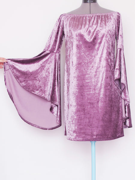 Purple bell sleeve velvet dress Large