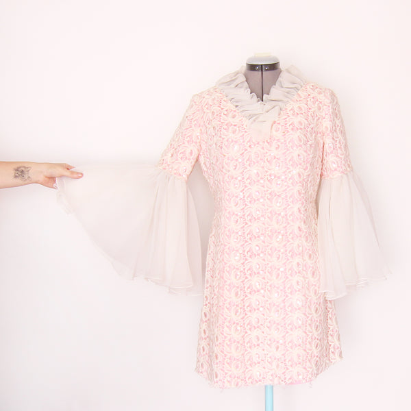 Vintage bell sleeve brocade dress
