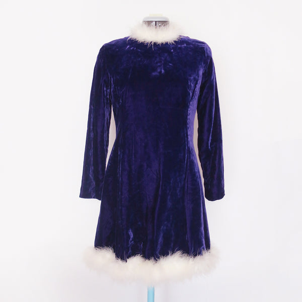 Vintage purple velvet feather-lined dress