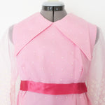 Vintage pink maxi dress with exaggerated collar