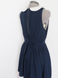 Navy blue and white peter pan collar dress Large