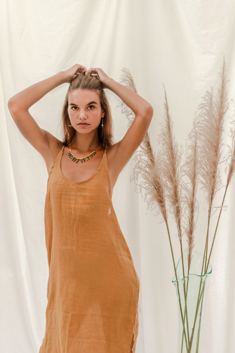 Ochre + Earth Clay Slip Dress Golden Honey
