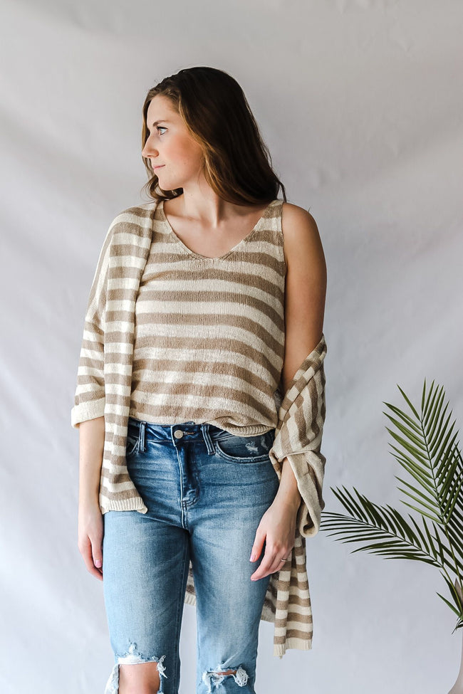 Stripe Sweater Sleeveless Top-Clothing - Top-Three:Twelve