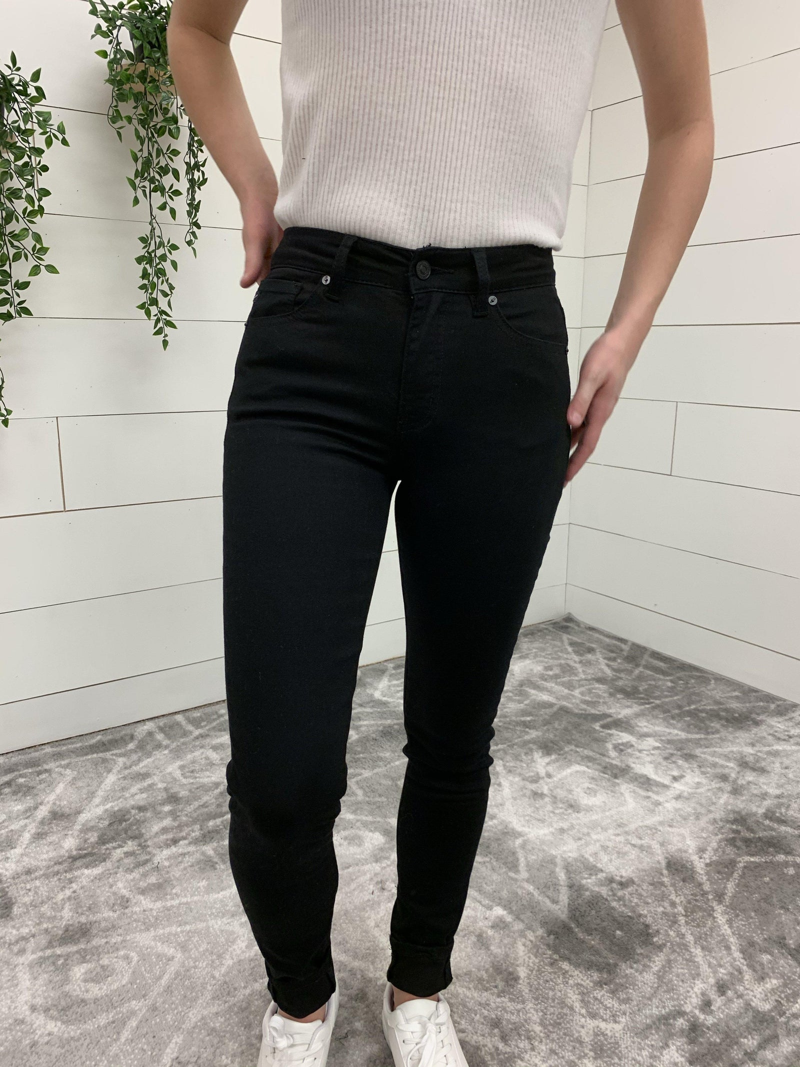 Kan Can Basic Black Skinny-Clothing - Bottom-Three:Twelve