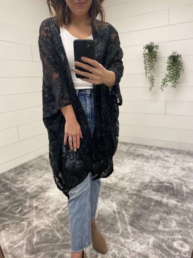 Velvet Cut out Kimono-Clothing - Top-Three:Twelve