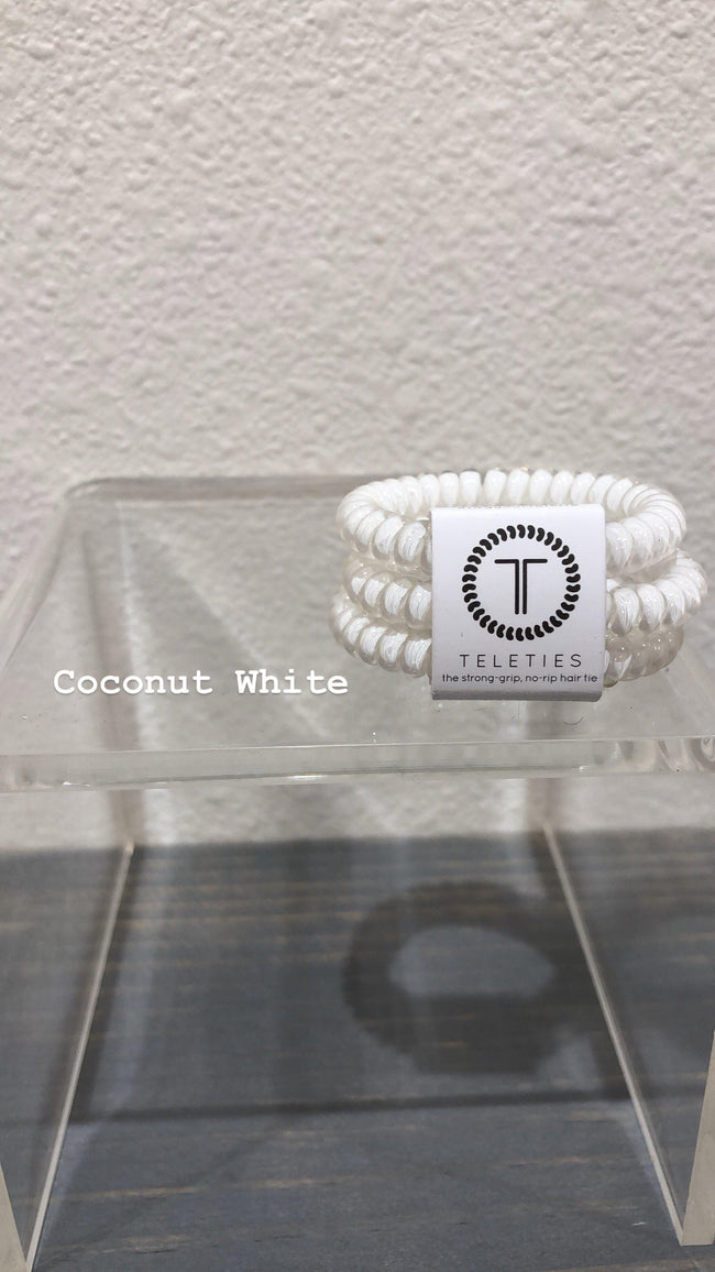 Coconut White Small Teleties-Accessories-Three:Twelve