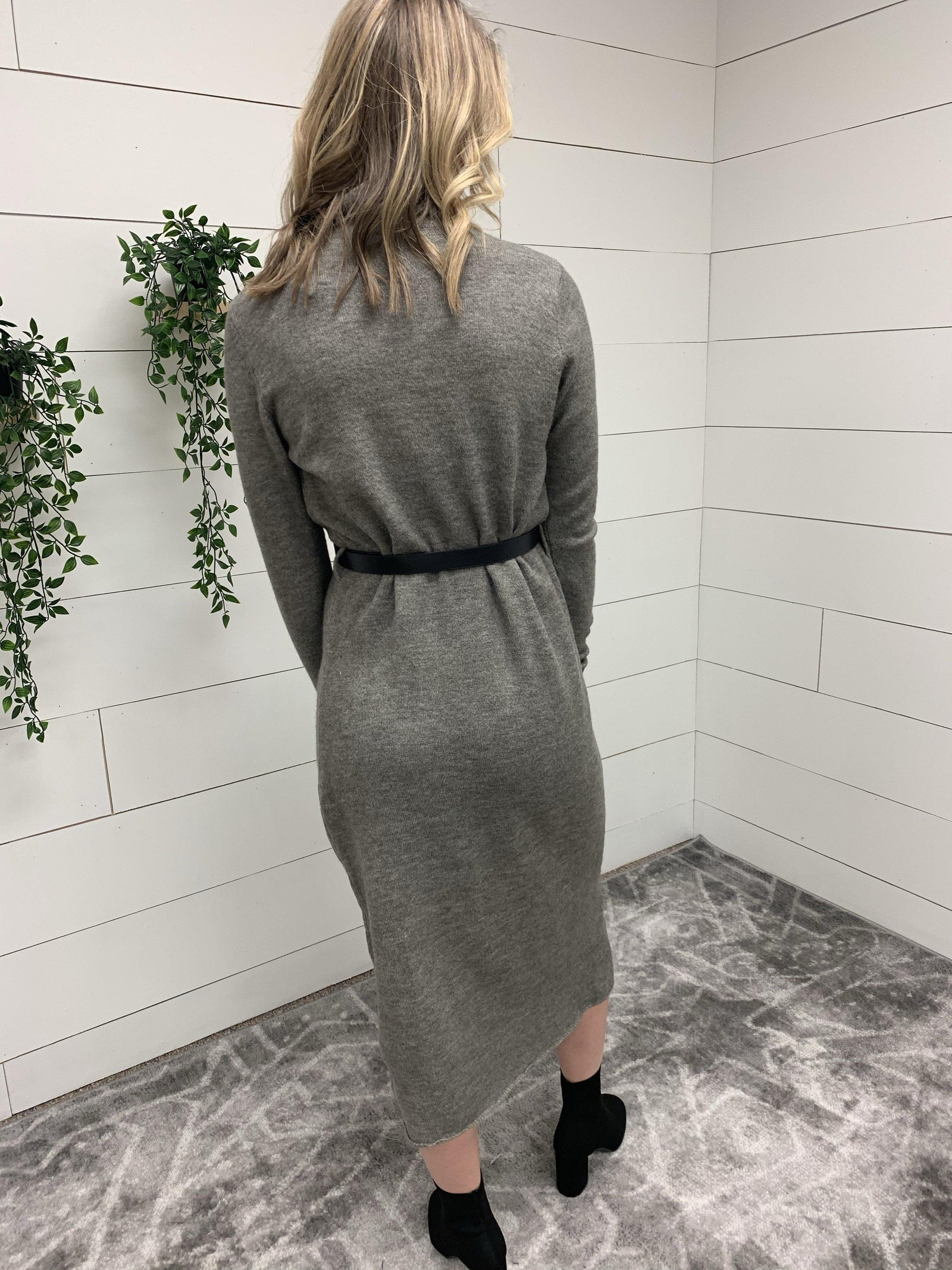 Turtle Neck Sweater Dress with Belt-Clothing - Dress-Three:Twelve