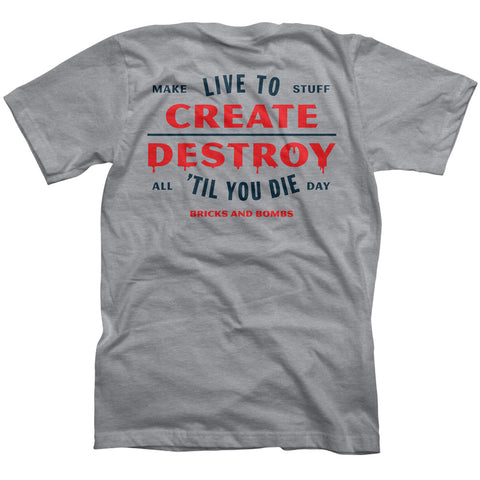 Bricks and Bombs All Day T Heather Grey