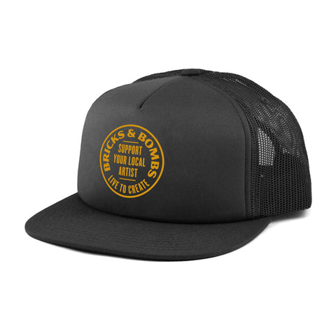 Bricks and Bombs Support Your Local Artist Trucker Hat Black