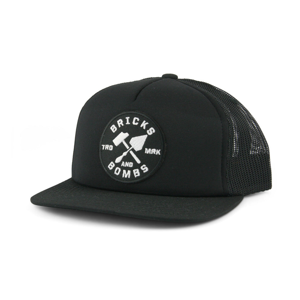 Bricks and Bombs Logo Patch Trucker Black