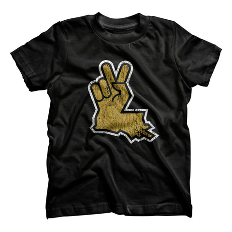 Louisiana Peace Hand Kids Tee - Black
