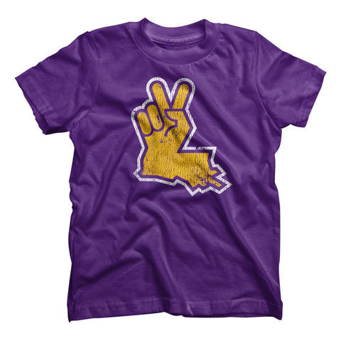 Louisiana Peace Hand Kids Tee - Purple