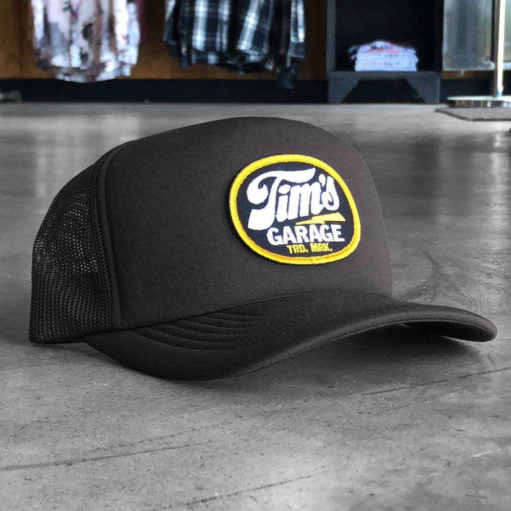 Tim's Garage Logo Patch Trucker Black