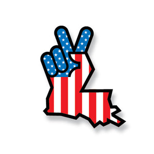 Louisiana Peace Hand Sticker USA