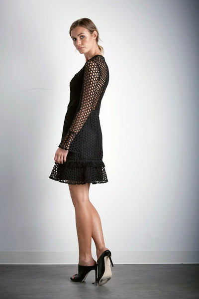BEYOND CROCHET L/S MINI DRESS