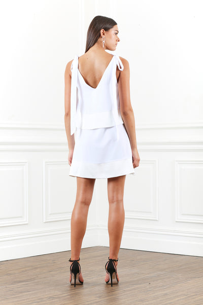 LUSTRE LAYERED TIE MINI DRESS