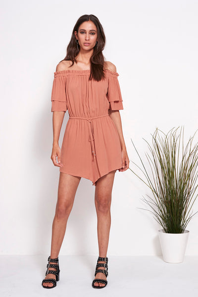 POWER OFF SHOULDER ROMPER