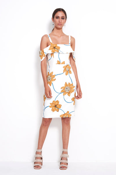 PLAY WHT FLORAL BODYCON DRESS
