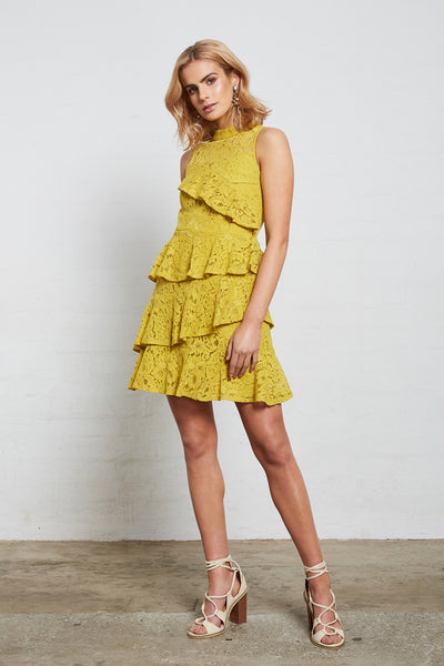 SUPERIOR LACE RUFFLE DRESS