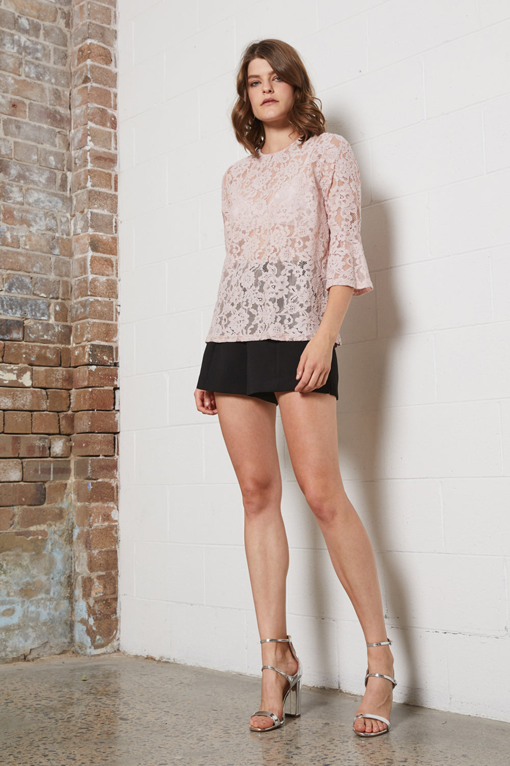 DELICATE LACE 3/4 SLV TOP