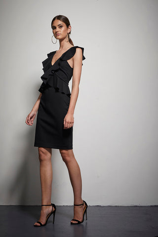 EXOTIC TEXTURED FRILL DRESS