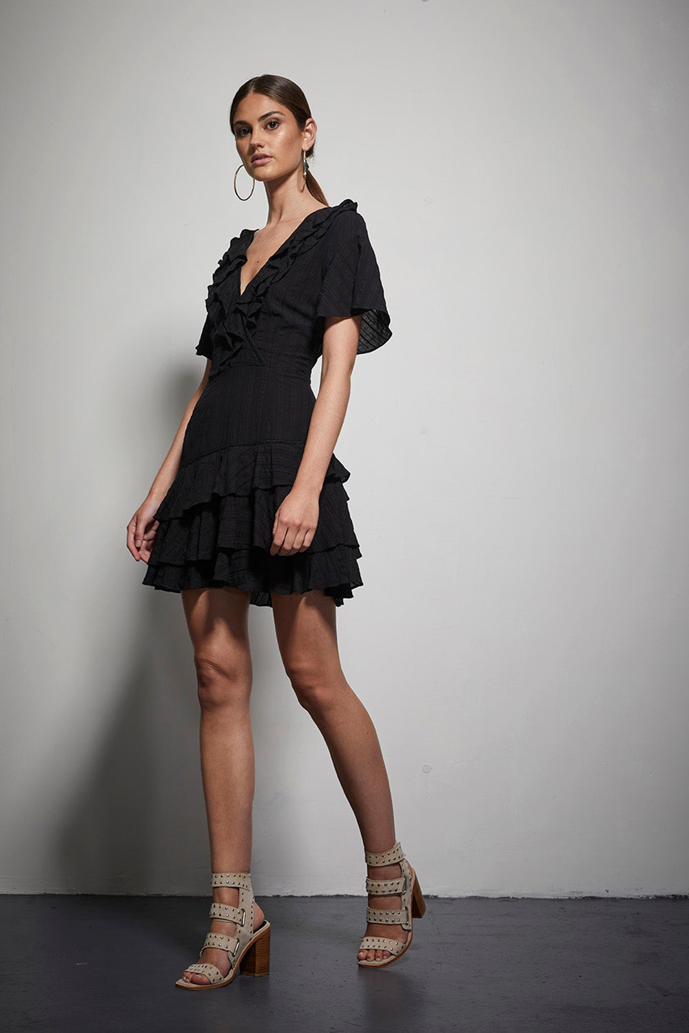 EXOTIC LACE/RUFFLE DRESS