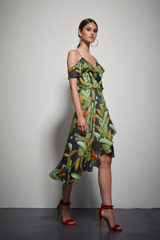 EXOTIC FLORAL RUFFLE DRESS