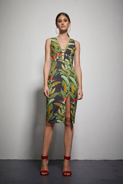 EXOTIC FLORAL BODYCON DRESS