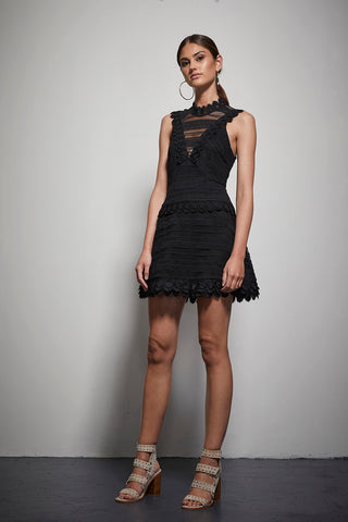 EXOTIC PANEL LACE MINI DRESS