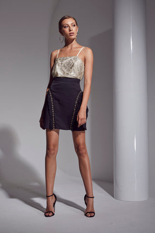 ALLURE FRINGE/METAL SKIRT