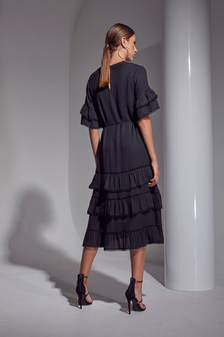 ALLURE PLEAT LONG DRESS