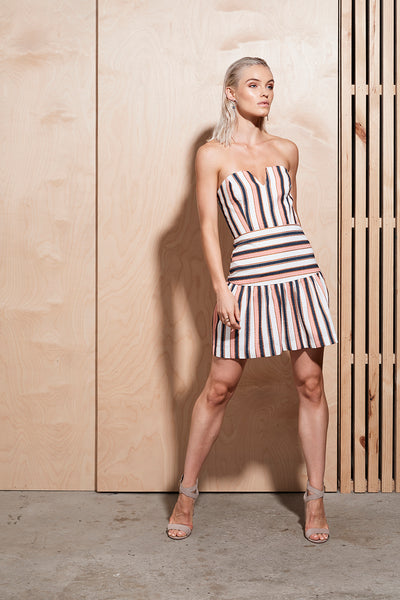ILLUME STRIPE TUBE DRESS