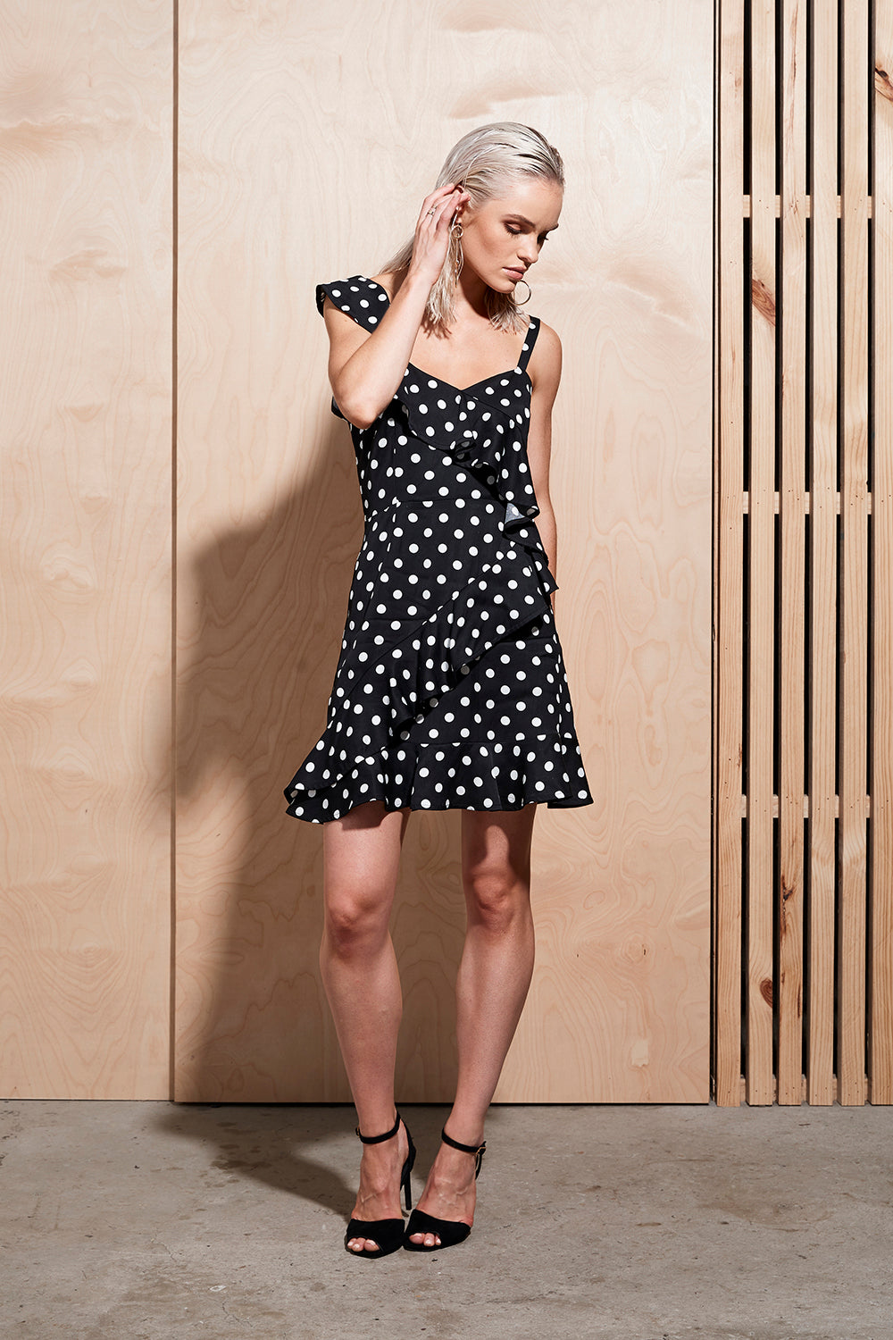 ILLUME DOT RUFFLE DRESS