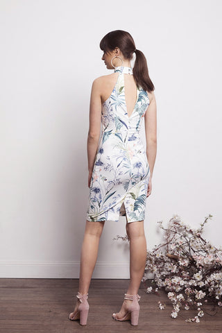 SOCIAL WHT FLORAL BODYCON DRESS